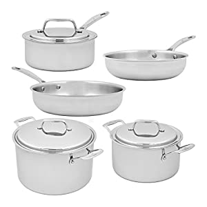 USA Pan Cookware 5-Ply Stainless Steel 8 Piece Cookware Set, Oven and Dishwasher Safe, Made in the USA