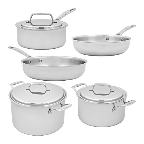 USA Pan Cookware 5-Ply Stainless Steel 8 Piece Cookware Set, Oven and Dishwasher Safe, Made in the USA by USA Pan