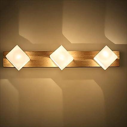 Amazon.com: NYDZ Lumière De Miroir En Bois Massif, Simple ...