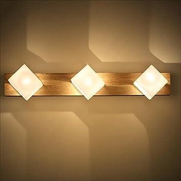 Amazon Com Bjlwt Lumiere De Miroir En Bois Massif Simple Lampe De