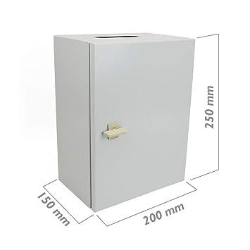 BeMatik - Caja de distribución eléctrica metálica con protección IP65 para fijación a Pared 250x200x150mm