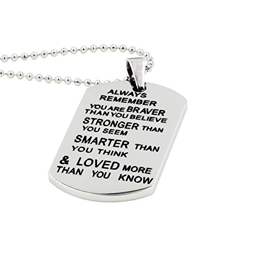 Eosmer Stainless Steel Inspirational Necklace Tags Pendants Birthday Gifts For Boys Girls