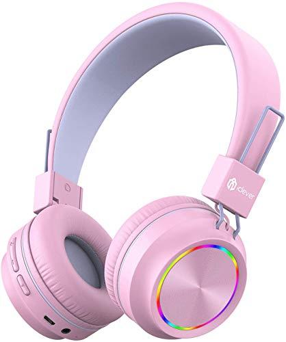 iClever Bluetooth hoofdtelefoons voor kinderen, gekleurde lichten, koptelefoons voor kinderen, met microfoon, volume…
