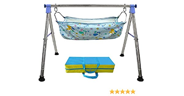amazon com everex folding stainless steel indian style ghodiyuamazon com everex folding stainless steel indian style ghodiyu palna swing cradle jhula for born baby with hammock (blue) baby