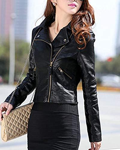 Giubbotto Pu Biker Giacchetto Slim Giacca Donna Moto Cuoio Cappotto Blazer Nero Di AwnRxd
