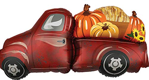 Farmer's Market Truck Super Shape Foil Balloon Farm Pickup Truck with Pumpkins, Large 37