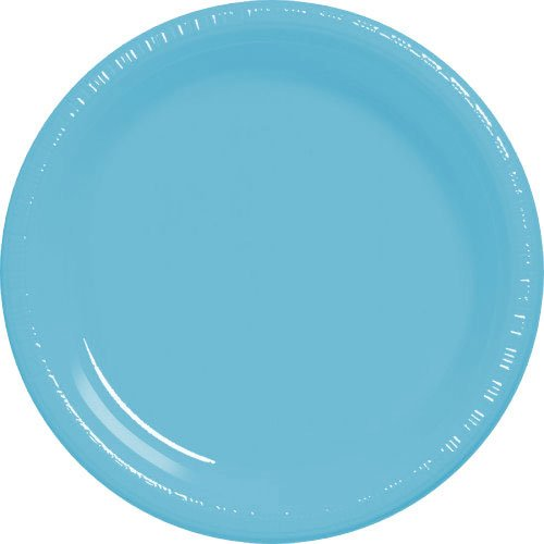 (Amscan Caribbean Blue Plastic Plate Big Party Pack, 50 Ct.)