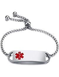 "Free Custom Engraving Stainless Steel Medical Alert ID Thin Adjustable Bracelet for Adult&Child,6""-8"""