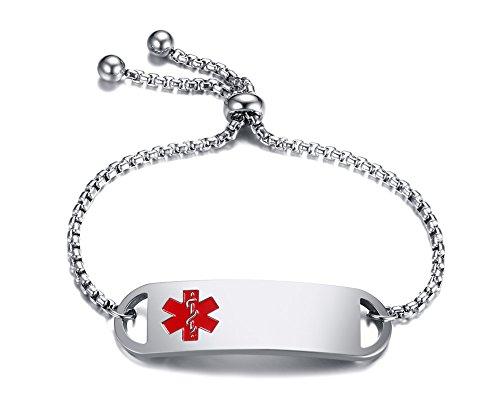 VNOX Free Custom Engraving Stainless Steel Medical Alert ID Thin Adjustable Bracelet for - Designer Alert Bracelets Medical