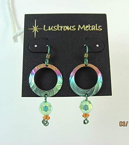 Niobium, drop, earrings chandelier, Lustrous Metals Jewelry, 100% hypoallergenic, made in California, Swarovski, crystals, Holly green, Rose pink