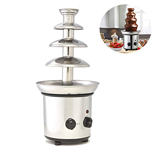 Double Fountain Chocolate (Chocolate Fountain, 4 Tiers Commercial Stainless Steel Hot New Luxury Chocolate Fondue Fountain, 2.2lb Capacity)