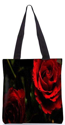 """Snoogg Rote Rose-Einkaufstasche 13,5 X 15 In """"Einkaufstasche Dienstprogramm Trage Aus Polyester Leinwand"""