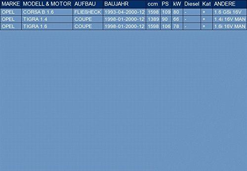 pour CORSA B TIGRA 1.6 1.4 HATCHBACK COUPE 109//90//106hp 1993-2000 kit di montaggio ETS-EXHAUST 51168 Silenziatore marmitta Centrale