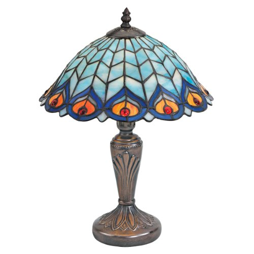 Design Toscano Peacock Feathers Stained Glass Lamp