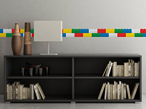 "Brick Wall Border Fabric Wall Decal, Set of Two 25"" x 6.25"" Sections, Wall Border Decal Sticker, Children Wall Decal, Nursery Decor, Removable, Reusable, Respositionable"