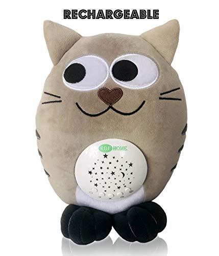 - RBFHome Plush Cat Sleep Sound Soother – Rechargeable Night Light & Music Projector – Cry Sensor Light & Lullaby – Newborn & Baby Gift – Nursery Portable Stuffed Animal – Natural & White Noise Machine