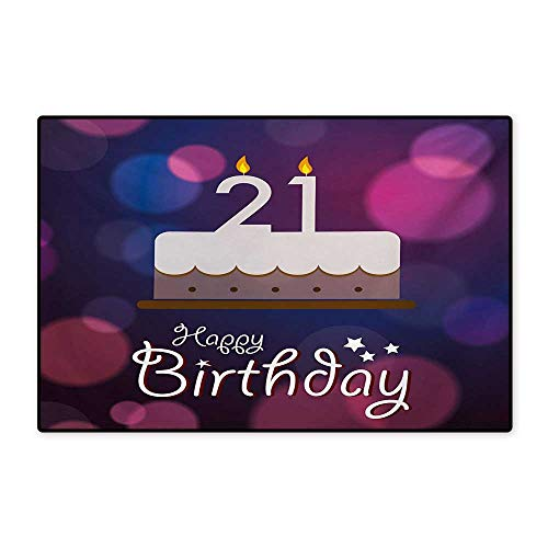 21st Birthday Bath Mats for Floors Happy Birthday Quote with Stars on Abstract Tones of Pink Inspired Image Customize Door mats for Home Mat 24