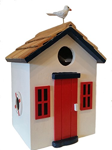Beach Cottage Birdhouse is a Wood Birdhouse in Pure White with a Pine Wood Shingled Roof, Red Accents, Blue Trim and a Bright Red Front Door