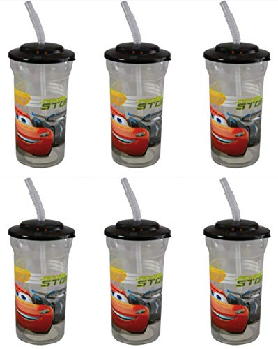Lightning McQueen Cars Pack Party Favor 16oz Sports Tumbler Cup Set of SIX -
