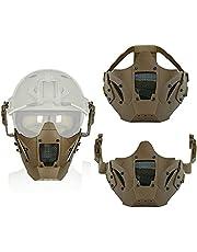 Militair Samurai Halfgelaatsmasker, Metal Mesh Eye Tactical Airsoft Paintball-Maskers, Met Helmbril Pak, Voor CS Paintball Hunting War Game Outdoor Activity,Khaki