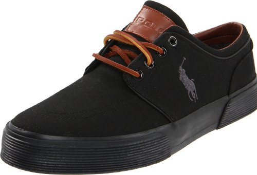 Polo Ralph Lauren Men's Faxon Low Sneaker,Black/Black Canvas,8 D ()