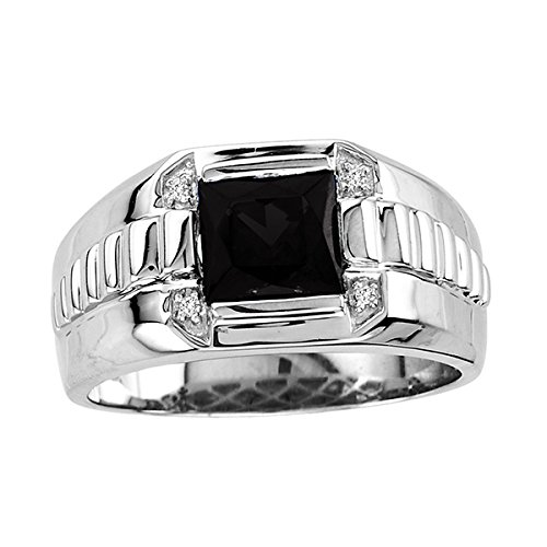Silver Black Diamond Mens Ring (Men's 8x8mm Onyx Ring With In Sterling Silver - Size 8)