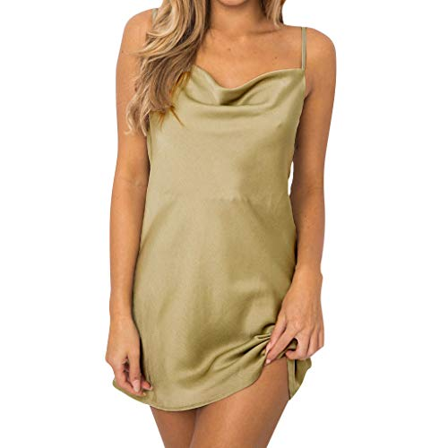 Sunhusing Women's Solid Color Satin Sexy Sleeveless Sling Adjustable Shoulder Strap Slim Mini Short Dress Green]()