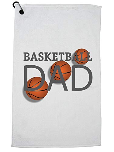 Hollywood Thread Trendy Basketball Dad Graphic Team Ball Golf Towel with Carabiner Clip by Hollywood Thread