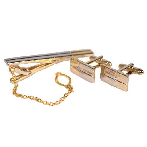 - Mens Wedding Shirt Suit Cufflink Necktie Tie Clip Set Accessory Gold