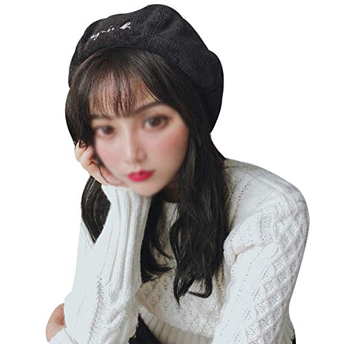 Sun Kea Ladies Embroidery Beret Hats Korean Style Solid Color Corduroy Pumpkin Cap