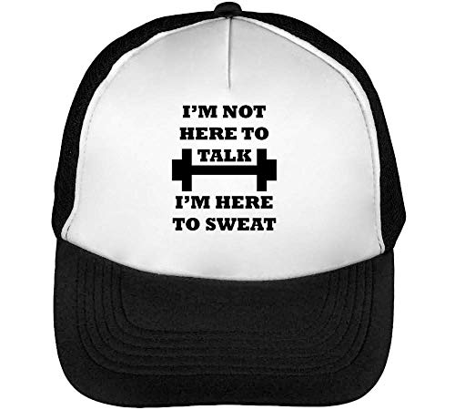 I'M Not Here To Talk I'M Hear To Sweat Gorras Hombre Snapback Beisbol Negro Blanco