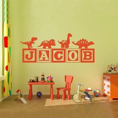 Blocks Nursery Decor (KOTWDQ 2016 Hot Boys Dinosaur Blocks personalized Name Wall Decal Nursery Room Kids New Fashion Vinyl Wall Graphics Bedroom Decor Wall Sticker 18x24 inch)