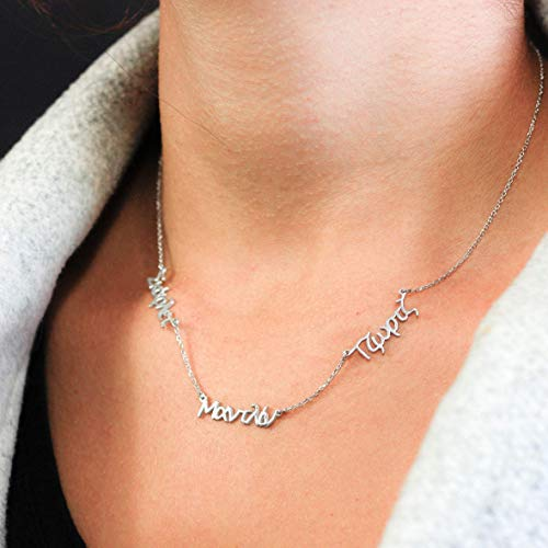 Greek Name Necklace Personalized Custom Kids Name Mothers Gift Write Any Name 3 Name Necklace Sterling Silver Unique Greek Alphabet Valentine's - Name Greek Necklace