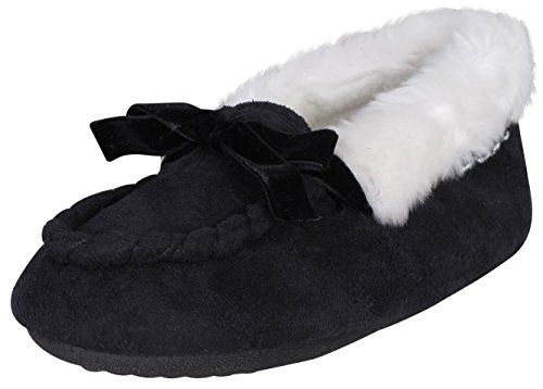 'Bebe Girls Microsuede Faux Fur Moccasin Slippers with Velvet Bow and Embroidered Bebe Logo, Black/Silver, Size 11/12'