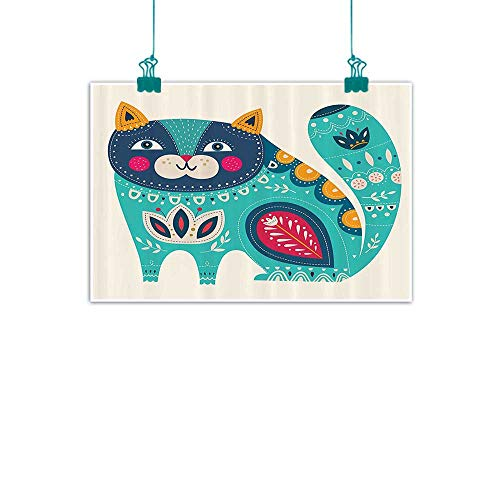 - funkky Animal Living Room Decorative Painting Cute Chubby Smiling Cat with Colorful Paisley Motif Ethnic Tribal Style Figures Art Modern Minimalist Atmosphere 35