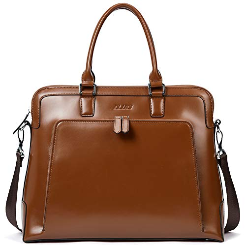 CLUCI Briefcases for Women Oil Wax Leather Slim Business 14 inch Laptop Vintage Ladies Shoulder Bags Brown