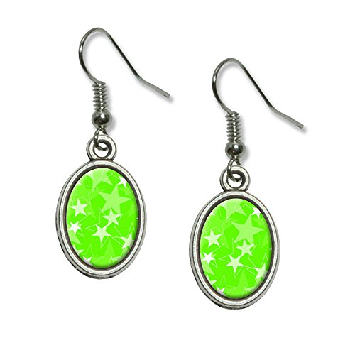 Green Oval Charm (Stars Lime Green Novelty Dangling Drop Oval Charm)