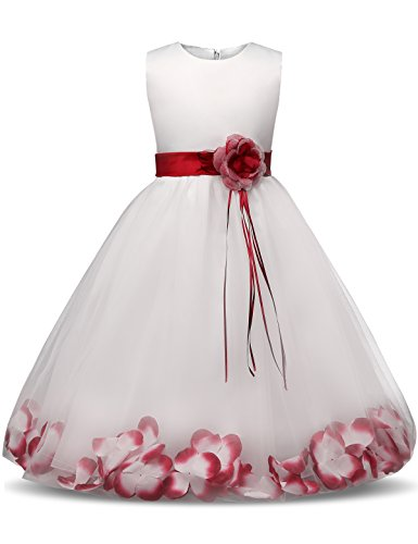 NNJXD Girl Tutu Flower Petals Bow Bridal Dress for Toddler Girl Size(150) 7-8 Years Big Red -