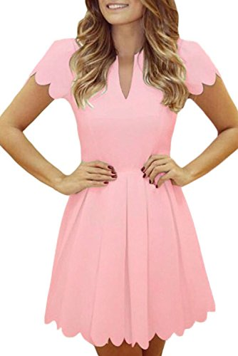 Sidefeel Women Short Sleeve Sweet Scallop Pleated Skater Dress Small Pink ()