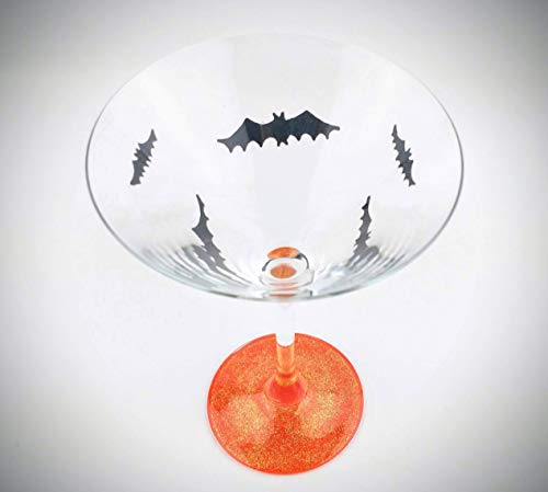 Halloween martini glasses, hand painted bat and orange sparkle - Set of two -