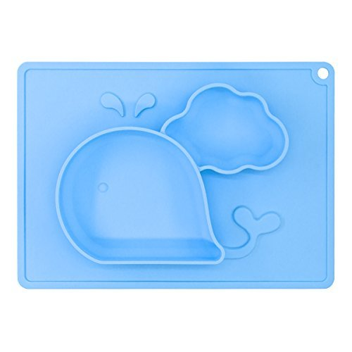 Baby Feeding Mat, BliGli Toddlers Silicone Placemat, Non-Slip Baby Plates for Kids, Dishwasher/Microwave Oven Safe, Fits Most High Chair Trays, Perfect for Dinners Out and Travel (Blue-Small Whale)