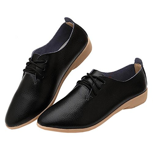 Women's Round Toe Flat Loafers London Casual Shoes Black - 5