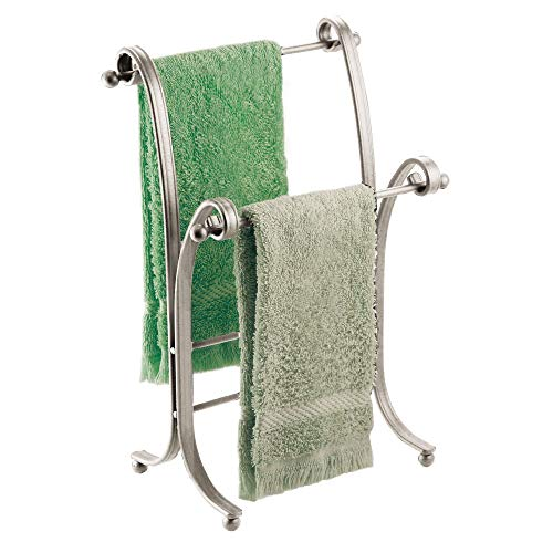 Hanging Bathroom Vanity (mDesign Decorative Metal Fingertip Towel Holder Stand for Bathroom Vanity Countertops to Display and Store Small Guest Towels or Washcloths, 2 Tiers - 13.6