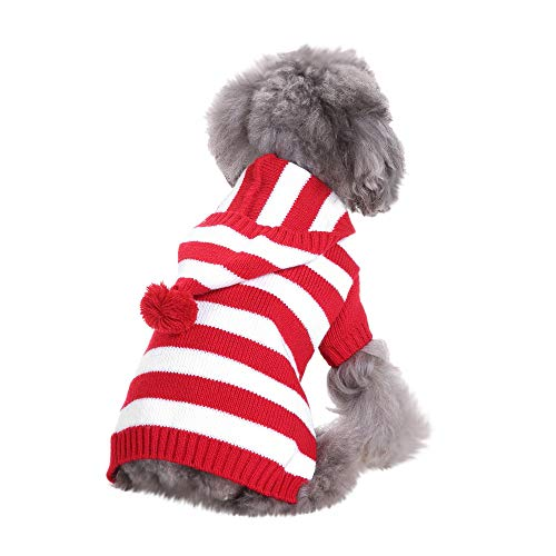 - AKwell Dog Sweater with Hat Christmas Winter Knitwear Hoodie Winter Warm Striped Hooded Sweater Coat Costume Pet Apparel