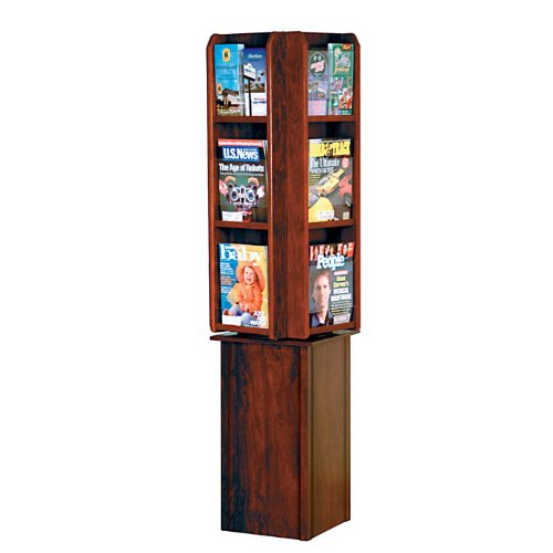 Wooden Mallet LM24-FS Spinning / Rotating Counter 12 Pocket Magazine Rack or 24 Pocket Brochure Holder from ABC Office in Dark Red Mahogany ()