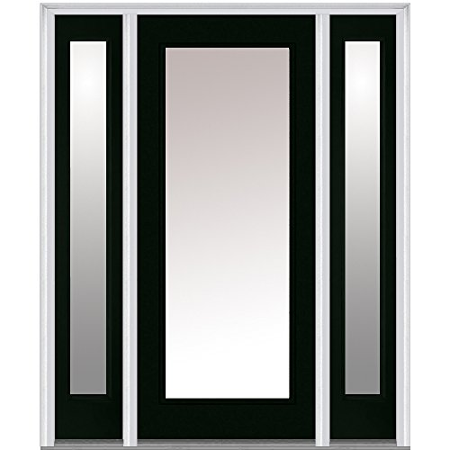 National Door Company Z004885L Steel Hunter Green, Left Hand In-swing, Prehung Front Door, Full Lite, Clear Glass, 36'' x 80'' with 14'' Sidelites by National Door Company