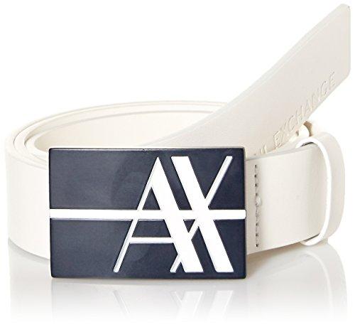 [Armani Exchange Men's Graphic Logo Buckle Belt - Leather Buckle Belt, White, 32] (Leather Logo Buckle Belt)