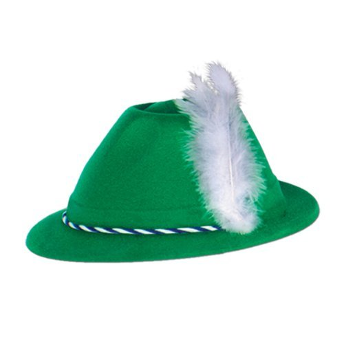 Beistle Green Velour Tyrolean Hat