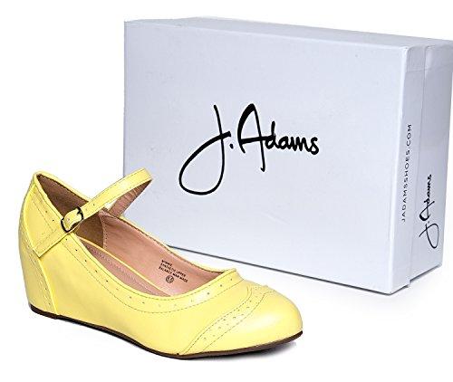 J. Adams Ankelbandet Mary Jane Kil - Rund Tå Retro Sko - Söta Vintage Oxford - Minnie Av Gul Pu