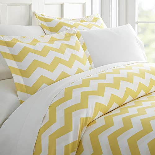 CELINE LINEN Luxury Silky Soft Coziest 1500 Thread Count Egyptian Quality 3-Piece Duvet Cover Set |Arrow Pattern| Wrinkle Free, 100% Hypoallergenic, Full/Queen, Yellow